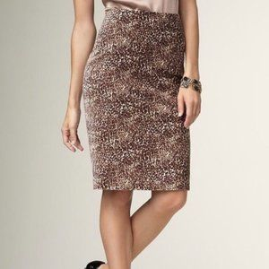 Talbots Leopard Velvet Pencil Skirt